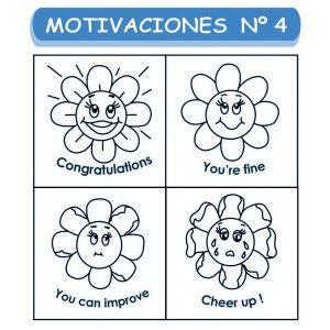 MOTIVACIONES NO. 4 MARGARITAS  EN INGLES X 4