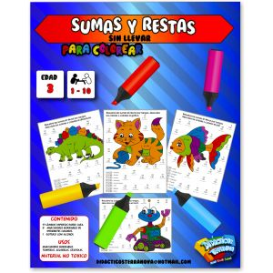 SUMAS Y RESTAS X 10 LÁMINAS