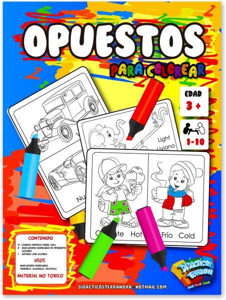 OPUESTOS PARA COLOREAR X 10 LÁMINAS